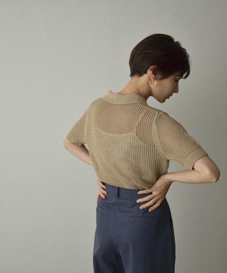 tops-02251  Linen mesh polo shirt