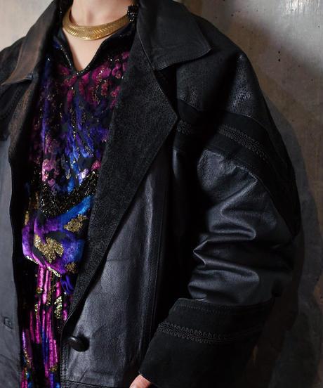 Paisley Switch Leather Coat