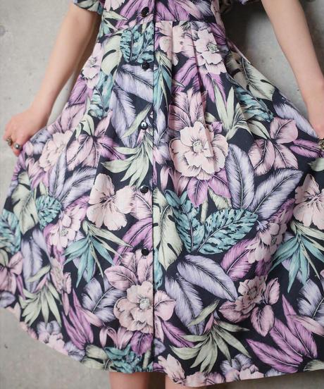Purple Pink Flower Cotton Front Open Dress