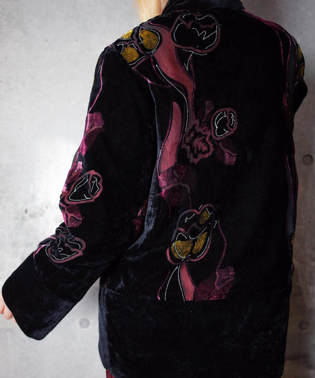 Velvet × Sheer Flower China Jacket