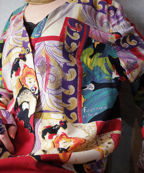 """Art by """"Henri de Toulouse-Lautrec"""" Dress c.1980 Dead Stock"""