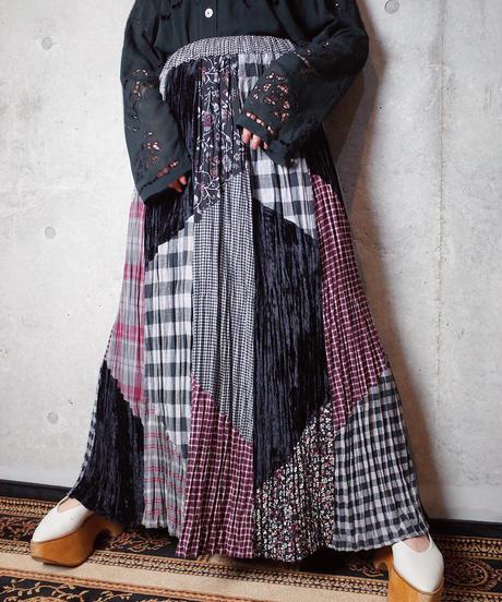 Plaid & Flower Patchwork Skirt