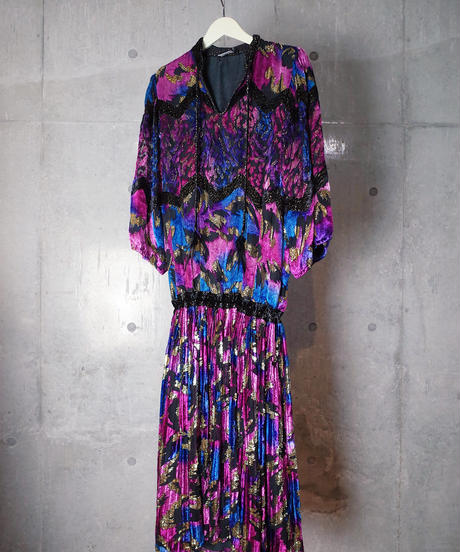 """Diane Freis"" LIMITED EDITION Beautiful Gradation Silk Velvet Dress"