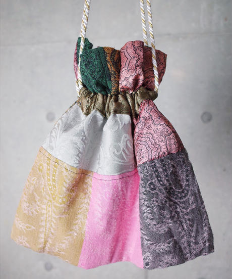 Vintage Fabric Patchwork Remake 巾着2