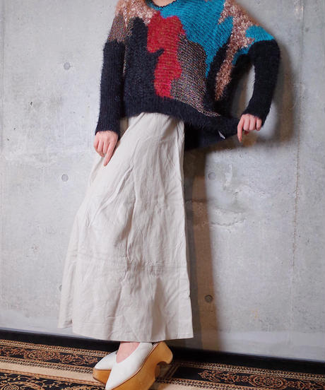 Mix Texture Shaggy Short Knit Sweater