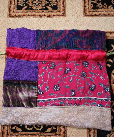 Vintage Fabric Patchwork Remake 巾着5