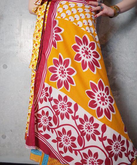 Oriental Pattern Layered Silk Wrap Skirt