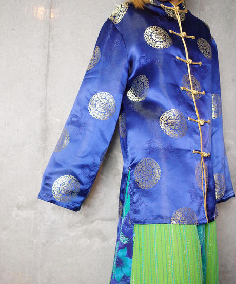 Royal Blue Satin China Shirt
