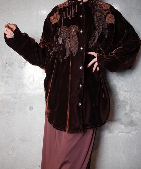Decorative Chocolate Brown Velvet Dolman Shirt