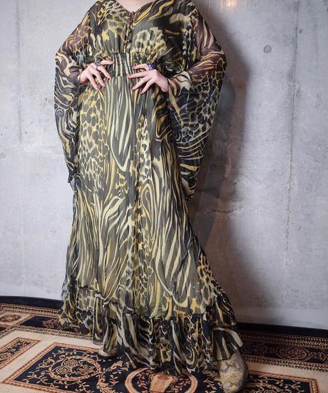 Tiger Sheer Rayon Bell Sleeves Maxi Dress