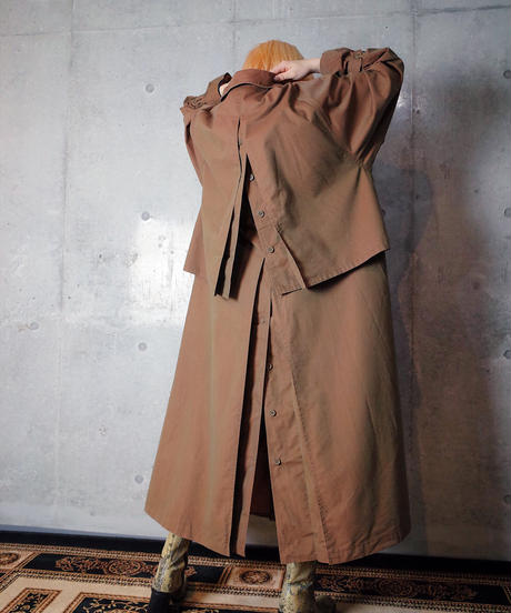 Brown Iridescent Back Design Balmacaan Coat