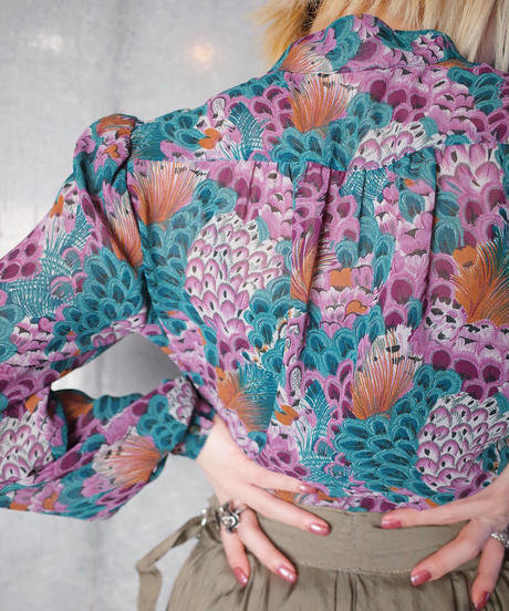 Oriental Peacock Frill Pullover Blouse c.1970
