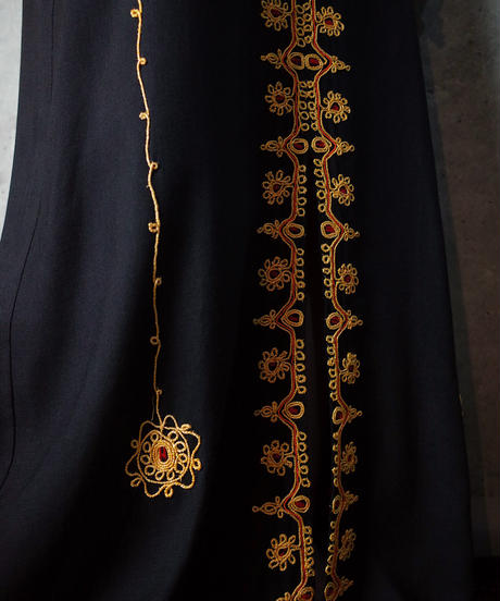 Exotic Embroidery Black Dress c.1970