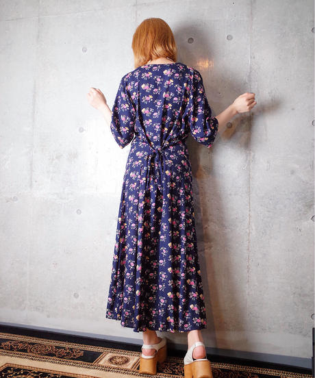 Flower Rayon Front Open Dress