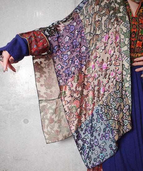 Oriental Patchwork Shawl Velvet & Sheer Beautiful Textile