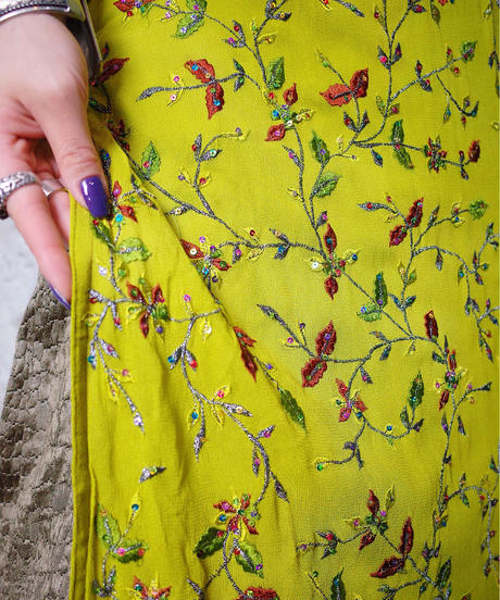 Embroidery Lime Green Slit Dress
