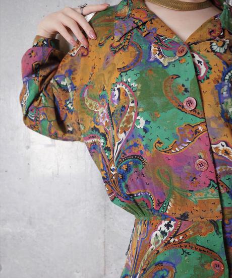 Aurora Art Front Open Rayon Dress