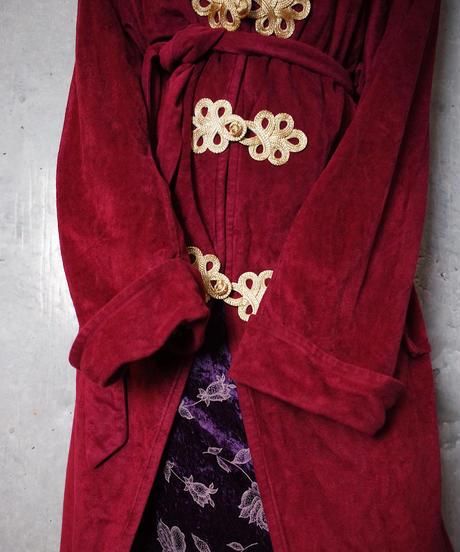 Bordeaux Velvet Gown Remake China Buttons