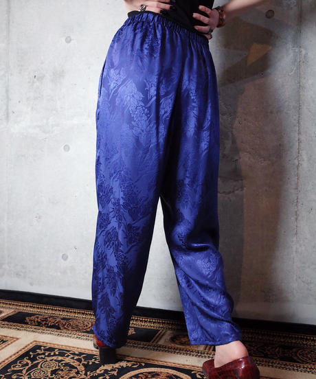 Jacquard Flower Silk Satin Pants