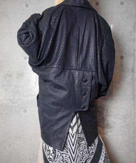 Crocodile Pattern Deformation Dolman Leather Coat