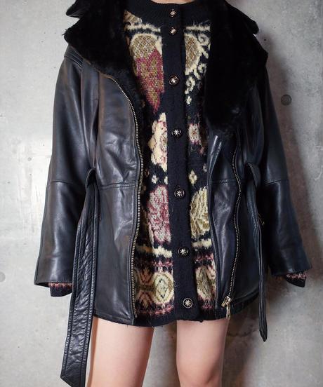 Double Boa Riders Leather Jacket Waist Belt / Dolman Silhouette
