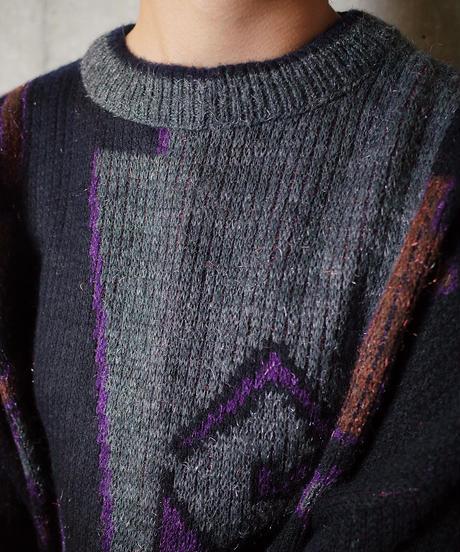 Abstract Geometric Metallic Knit Sweater