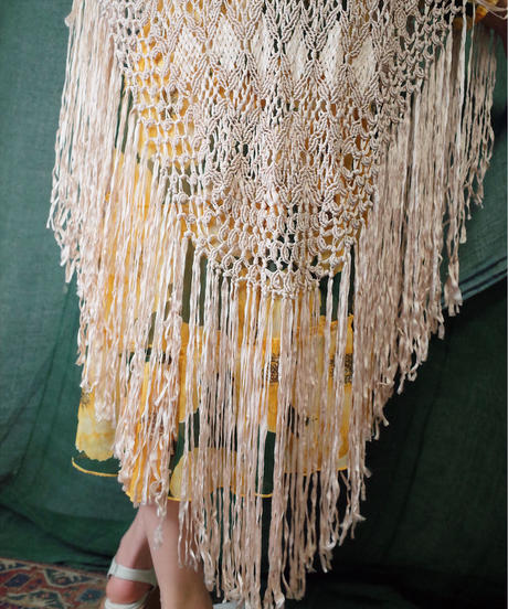 Hand Crochet Fringe Shawl from 1960s vintage