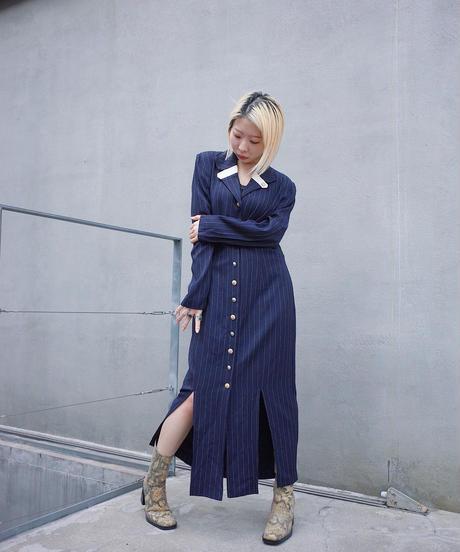 Pin Stripe Slit Front Open Dress