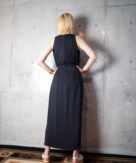 Code Embroidery Slit Dress