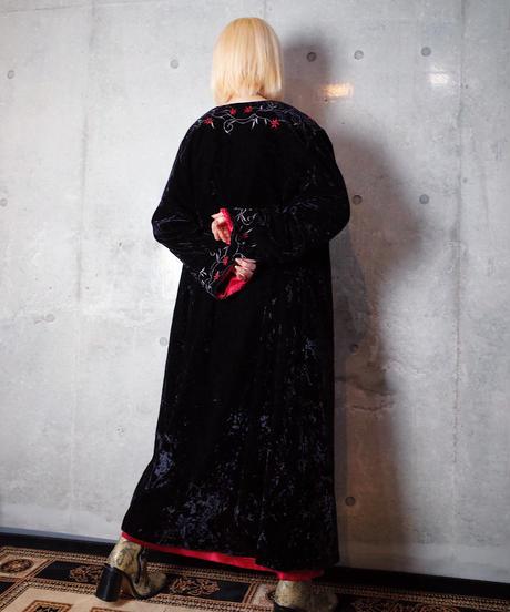 Art Nouveau Embroidery Black Velvet/Red Back Gown