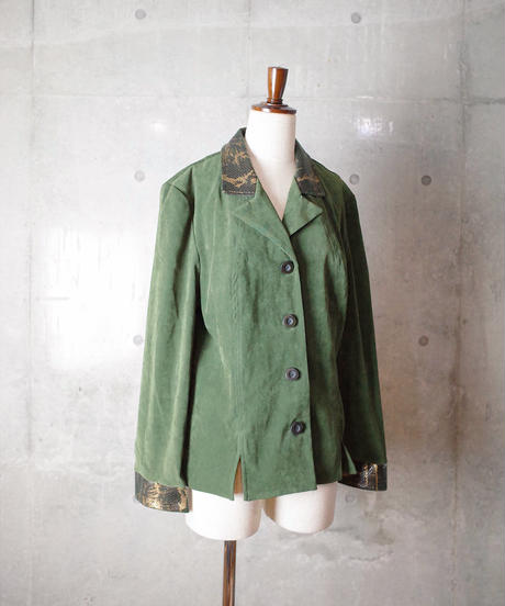 Deep Green Python Point Faux Suede Shirt Jacket