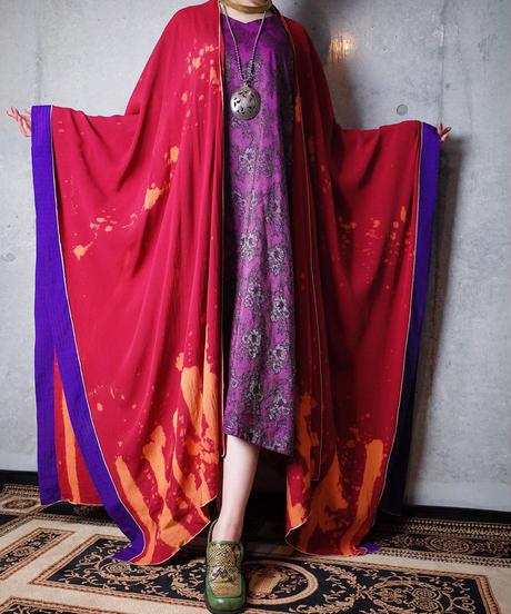 Red × Purple Bleach Drape Cape