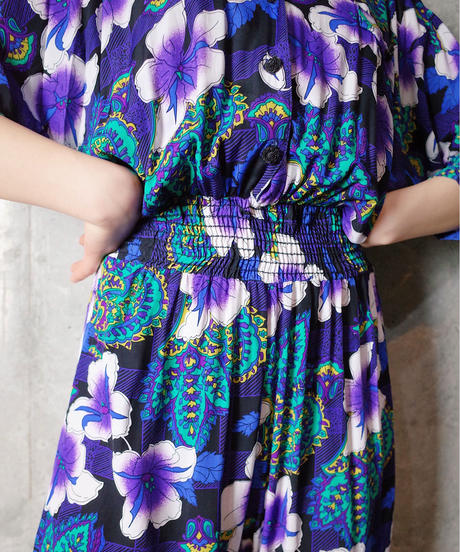 Purple Flower Rayon All in One (High Waist × Tapered)