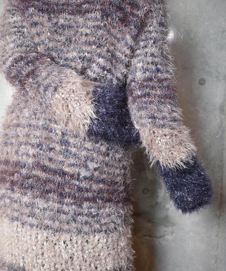 Gradation Shaggy Long Knit Gown