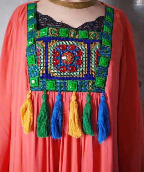 Cross Stitch Embroidery Bell Sleeve Dress