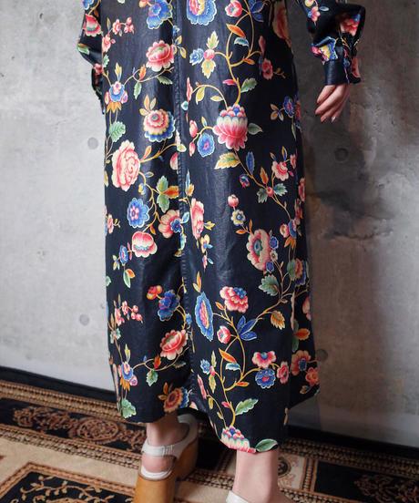 Oriental Flower Front Open Dress