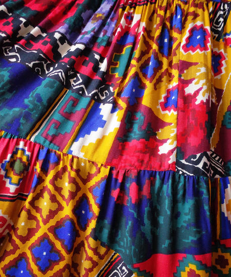 Crazy Art Rayon Tiered Skirt