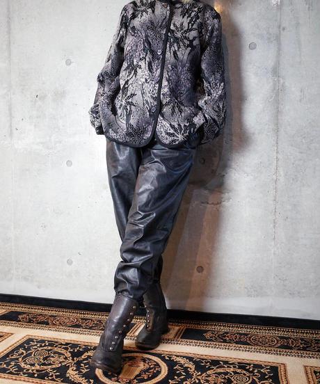 Monochrome Oriental Weave Mao Collar Jacket Reversible