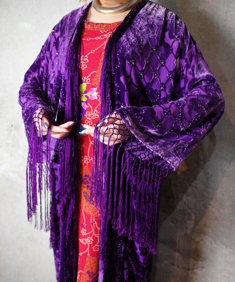 Purple Arabesque Velvet Fringe Gown