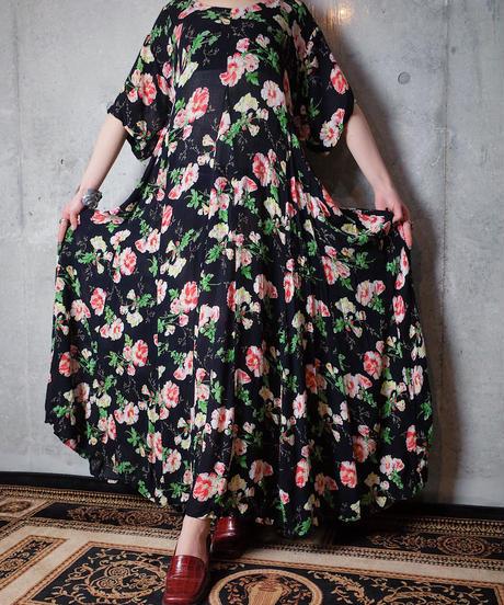 Flower Rayon Back Lace Up Dress