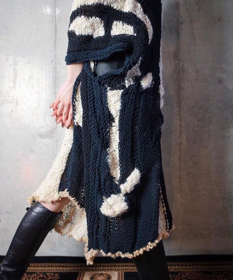 Hand Made Mix Material Knit Dress c.1970-1980