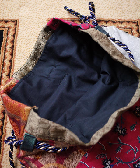 Vintage Fabric Patchwork Remake 巾着3