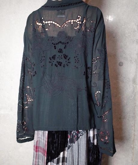 Eyelet Embroidery Black Rayon Blouse