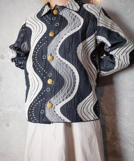 Black & White Wave Gobelin Jacket Reversible
