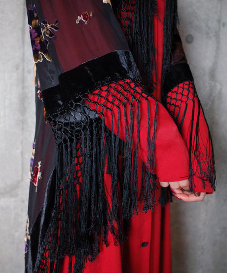 Velvet/Sheer Flower Fringe Fishtail Gown