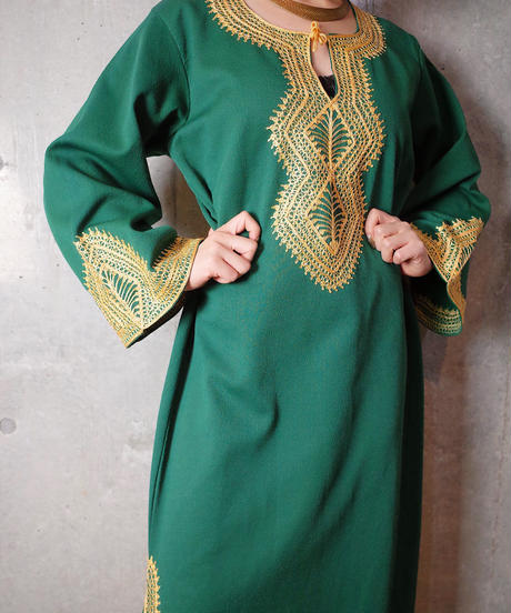 """""""HAND MADE IN MOROCCO"""" Embroidery Flare Sleeve Dress"""