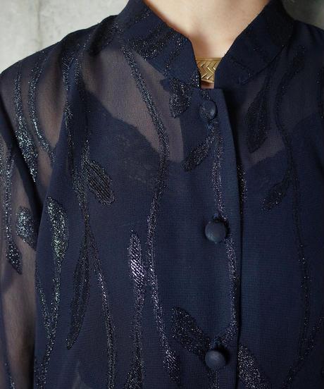 Deep Navy Art Nouveau Sheer Long China Shirt