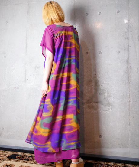 Gradation Art Sheer Layered Dress