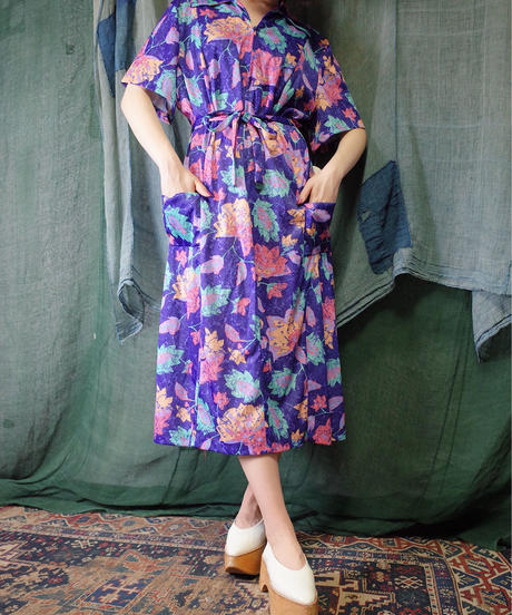 Psychedelic Leaf Dress from 1970s Dead Stock