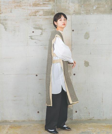 long knit vest two color